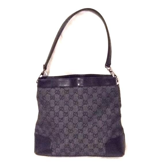 fa1e4eb69616 Gucci Bags | Black Denim Monogram Shoulder Bag | Poshmark